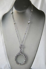 "NEWSilver Tone Magnifier GLASS Pendant Necklace 36"" long chain / White Zirconia*"