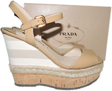 $890 PRADA Striped Wedge Cork Espadrille Nude Sandals Beige Shoes 38.5- 8.5