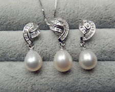 Genuine Cultured 9-10mm Freshwater Pearl Necklace Earring Set S925 Silver