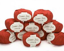10 x 50g. Red Debbie Bliss Cotton DK