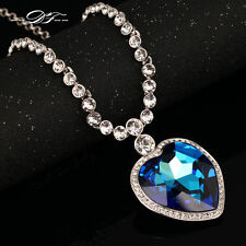 Big Blue Crystal Heart Choker Necklaces & Pendants Fashion Jewelry For Women