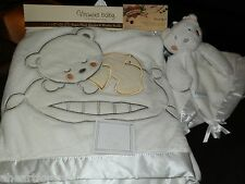 NEW LOT 2 WHITE BABY BLANKET & ANGEL SECURITY SET BEAR CLOUD SILVER EMBROIDERY