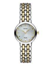 New Seiko SUP349 Solar Two Tone Stainless Mini 23mm Silver Dial Ladies Watch
