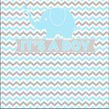 8x8FT Gray Blue Chevron Elephant Boy Newborn Photo Background Backdrop Vinyl