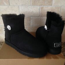 UGG Classic Mini Bailey Button Bling Black Suede Sheepskin Boots US 8 Womens New