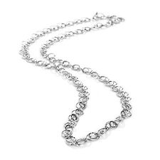 "36"" Technibond Diamond Cut Double Oval Chain Necklace Platinum Clad 925 Silver"