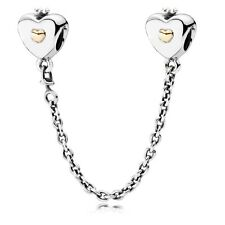 Authentic Pandora 14k Gold Silver Heart and Crown Safety Chain 791878 5CM