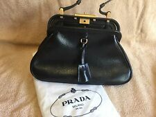 Prada Black Grained Leather Frame Bag