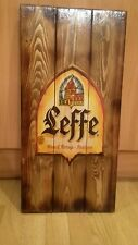 Leffe beer sign plaque  wooden rustic  gift mancave shed bar pub