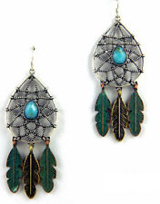 Rustic Aztec Dream Catcher Feather Patina Silver Turquoise Earrings Wire Dangle