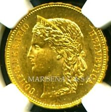 SWITZERLAND 1893 B GOLD COIN 20 FRANCS * NGC CERTIFIED GENUINE MS 61 * SPLENDID