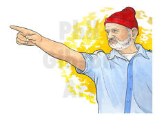 Original Wes Anderson Steve Zissou Life Aquatic Art Print Beanie Bill Murray