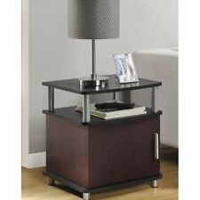 End TABLE Cherry Black Living Room Furniture Contemporary Storage Accent Tables