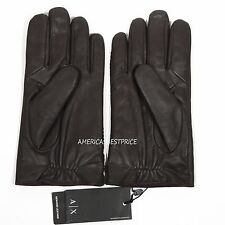 ARMANI EXCHANGE A|X NEW MENS GENUINE GOAT LEATHER GLOVES NWT BLACK/BROWN NICE