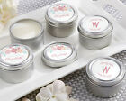 48 Personalized Rustic Bridal Shower Round Candle Tins Wedding Favors