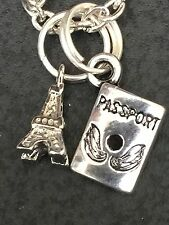 "Passport & Paris Eiffel Tower Mini Charm Tibetan Silver 18"" Necklace BIN"