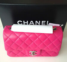 CHANEL PINK FUCHSIA RECTANGLE MINI FLAP CROSSBODY SHOULDER BAG NEW RARE