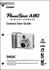 Canon Powershot A80  Digital Camera User Guide Instruction  Manual