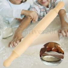 New 40cm Wooden Rolling Pin Pastry Dough Baking Revolving Handle Kitchen Tool