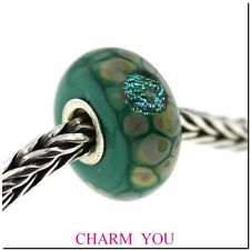 AUTHENTIC TROLLBEADS 62021 Green Flower Mosaic Glass Bead
