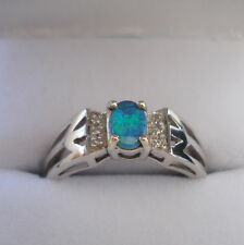 Certified Lightning Ridge Opal & Diamond Gold Ring
