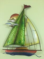 3D Colorful Glass Sailboat Nautical Wall Art Seaside Shore Seagulls Beach Decor