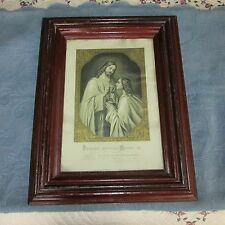 Antique Victorian Thick Wood Molding Picture Frame, Jesus Giving Communion Print