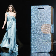 Blue Bling-Bling Glossy Gilter Wallet Flip Case Cover For Samsung Galaxy S5