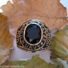 "AGNES CREATIONS / BAGUE HOMME  ""US NAVY""  PL/OR 14 K ZIRCONIUM COLORIS SAPHIR"