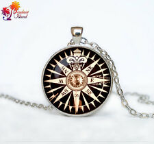 Old Compass necklace photo Tibet silver Cabochon glass pendant chain Necklace