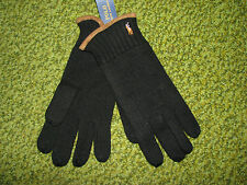 POLO-RALPH LAUREN Black Merino Wool/ Suede Leather Gloves (w/ Pony)
