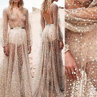 Sexy Women Long Boho Maxi Party Evening Dress Chiffon Dress Summer Beach Dresses
