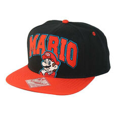 NINTENDO'S SUPER MARIO BRO'S MARIO BLACK AND RED SNAPBACK CAP HAT *NEW*