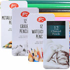 ADULT ART PENCILS SET IN TIN Watercolour/Graded/Charcoal/Metallic Kit Pack Set