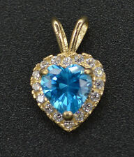 PM10 1ct Created halo Heart Blue Topaz Diamond Heart Pendant 14k Yellow Gold
