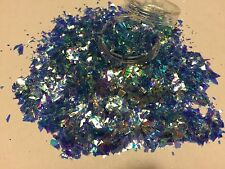 Beautiful Glitter Nail Art Ice Blue Mylar Broken Glass Acrylic & Gel Application