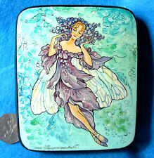 Russian HAND PAINTED LACQUER Trinket Box LILAC FAIRY GIRL Papier Mache signed