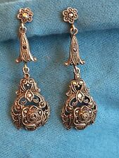 PAIRE BOUCLE OREILLE PAIR EARRINGS SILVER ARGENT MARCASSITE  POINÇON 1900