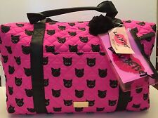 BETSEY JOHNSON NWT Betsey Weekender Travel Bag Overnight Cat Print $88 BLK/PINK