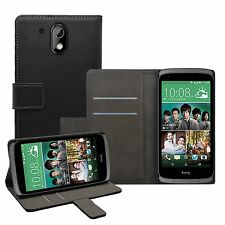 Wallet BLACK Leather Flip Case Cover Pouch Saver For HTC Desire 526G Dual