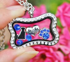 Dog Mom Living Locket Necklace Floating Charms Bone Paw Print Heart Cobalt Blue