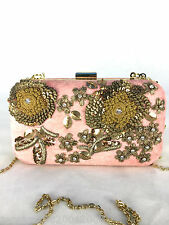 ZARA PINK VELVET MINAUDIERE HANDBAG WITH EMBROIDERED DETAILS
