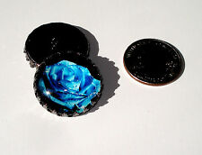 Blue Rose Glass Dome Button handcrafted collectible shank gunmetal crown
