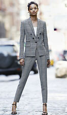 EXPRESS GLEN PLAID FAUX DOUBLE BREASTED JACKET EDITOR ANKLE PANT 2PC SUIT SZ 4