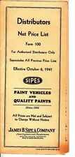 James B Sipe & Company Distributors Net Price List SIPES 1941 Paints Pittsburgh