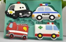 POLICE FIRE TAXI Silicone Mould Cake Decorating Sugarcraft Fondant Chocolate