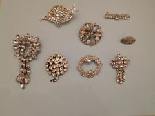 Lot Jewelry 8 Vintage Art Deco Rhinestone Brooches Clear Stones