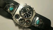 Turquoise Silver Quartz Thermo Compass Watch Harley Biker Natstricklenbellsouth