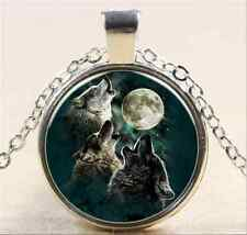 Vintage Wolf Cabochon Tibetan silver Glass Chain Pendant Necklace NEW
