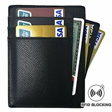 Black SLIM Front Pocket Leather WALLET, RFID Blocking, Cash Credit Card Holder